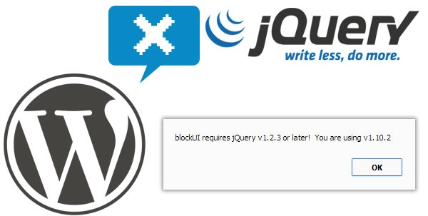 blockUI requires jQuery v1.2.3 or later! You are using v1.10.2